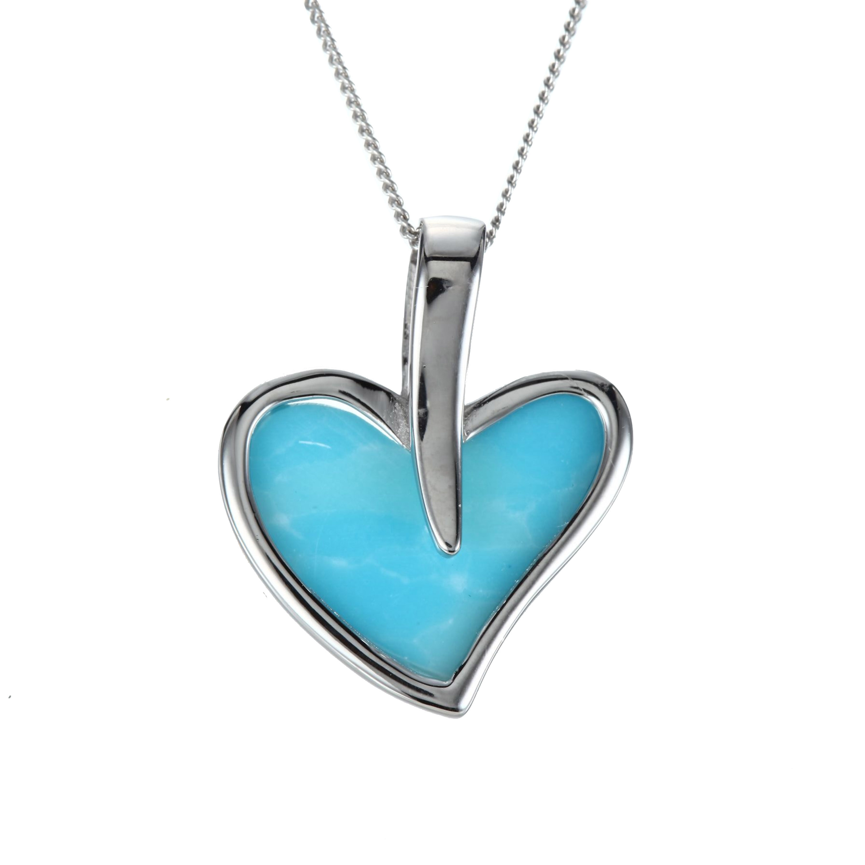 Dominicain naturel Larimar bijoux 925 pendentif en argent Sterling Larimar coeur pendentif femmes pendentif breloques sans chaîne