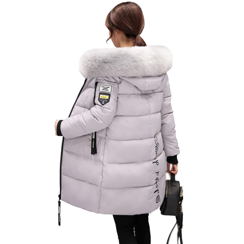 Warm Fur Fashion Hooded Quilted Coat Winter Jacket Woman 2017 Solid Color Zipper Down Cotton Parka Plus Size Slim Outwear WU11 free shipping winter jacket men down parka warm coat hooded cotton down jackets coat men warm outwear parka 225hfx