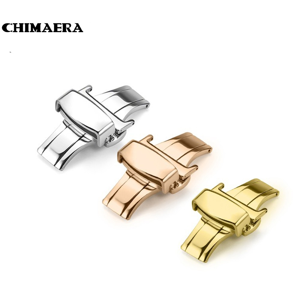 цены на CHIMAERA 316L Stainless Steel Watch Clasp10 12mm 14mm 16mm 18mm 20mm 22mm Double Push Butterfly Deployment Buckle  for Watchband в интернет-магазинах
