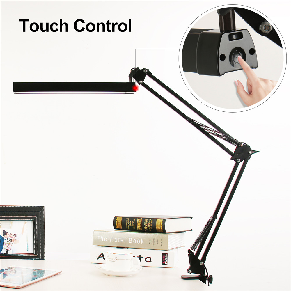 A16S 7W Metal LED Swing Arm Desk Lamp Dimmable Flexible Arm Lamp Clamp for Reading Office 3 Brightness 2 Color Modes Table Light yage desk lamp book reading night light colorful lamp for study non limit brightness 34pcs led 3 modes lamp eu usa uk plug