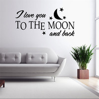 Baby Kids Bedroom Wall Stickers Moon Stars Heart Vinyl Removable Quote Decal I Love You To