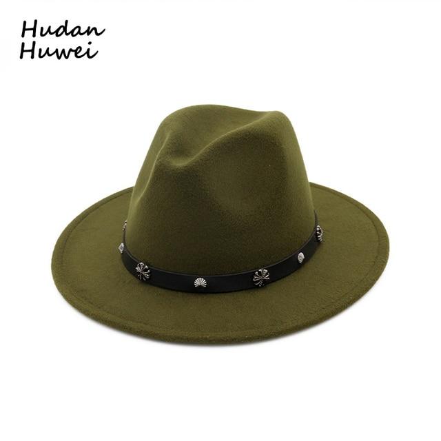 Moda estilo Jazz ala plana señoras Formal mujer sombrero de lana fieltro  sombreros con cuero cinturón d35c27f47d7