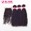"""7A unprocessed virgin hair kinky curly 3pcs with closure  Human Hair with Closure 10""""-24"""" malaysian curly hair with lace closure"""