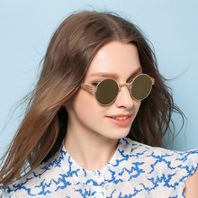 Newest Fashion Women Round Sunglasses Personality metal frame Sunglass Brand Design Men sun glasses mirror European style