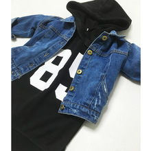 Autumn and winter new girl jeans jacket jacket jacket boys and Girls Denim boys and girls baby coat