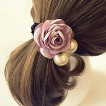 2017 1PC Fashion Women Elastic Satin Ribbon Big Flower Pearls Floral Decoration Ponytail Hairband Accessories MY193