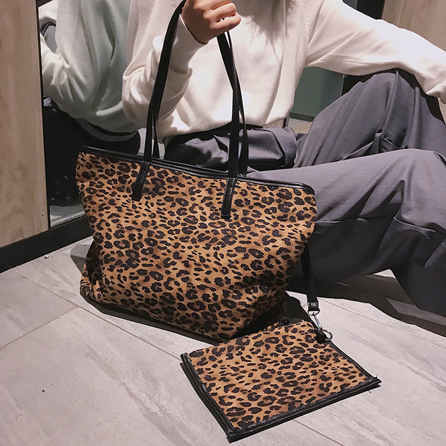 e94991af87 European Sexy Leopard Print Women Big Tote Bag 2018 Shopping Bag Vintage  Famous Brand Shoulder Bag