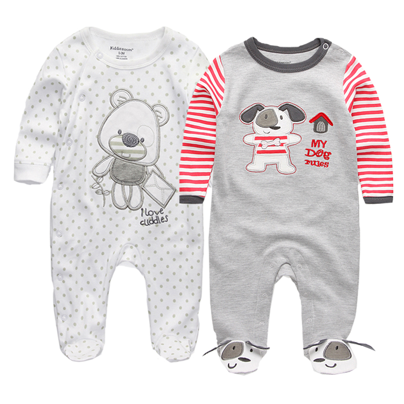 2 Piece Newborn Baby Girls Boys Clothes Printed Babies Footie Long Sleeve 100%cotton Jumpsuits Infant Clothes