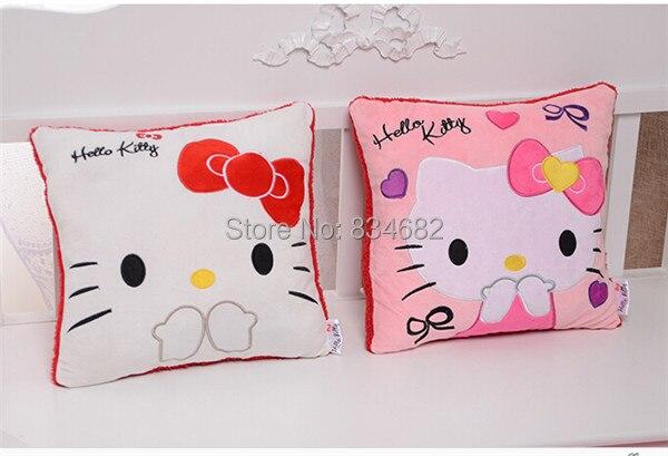 jg chen 2 pcs haute qualite belle bonjour kitty oreiller de main molle chaud chaud en