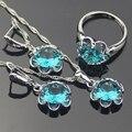 925-Sterling-Silver Criado Topázio azul Conjuntos De Jóias de Noiva Para As Mulheres Sliver Pingente/Colar/Brincos/Anéis Caixa de Presente Livre