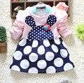 2015 de corea del conejo de dibujos animados lindo vestido de la muchacha infantil grande pequeño punto patchwork vestidos del bebé manga larga del algodón del bebé ropa