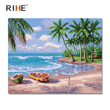 RIHE Beach Diy Painting By Numbers Landscape Oil Painting On Canvas Coconut Tree Cuadros Decoracion Acrylic Paint On Canvas 2018 0329zc066 home wall furniture decorations diy number oil painting children graffiti sandy beach coconut tree painting by numbers