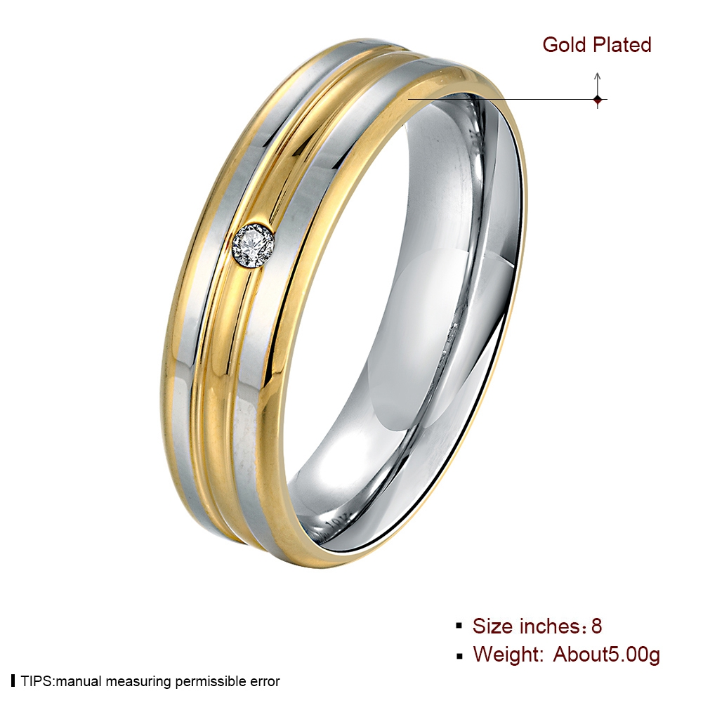 Gelb Gold Farbe Ring herren Ehering Band Für Frauen Edelstahl Paar