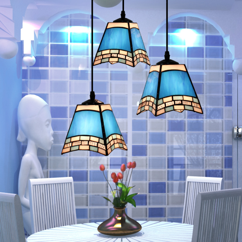European style Mediterranean tiffany pendant light Restaurant lounge 3 head of color stained glass decorative hanging light European style Mediterranean tiffany pendant light Restaurant lounge 3 head of color stained glass decorative hanging light