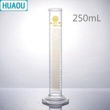 HUAOU 250 мл измерительный цилиндр с носиком и градацией со стеклянным круглым основанием лабораторное химическое оборудование