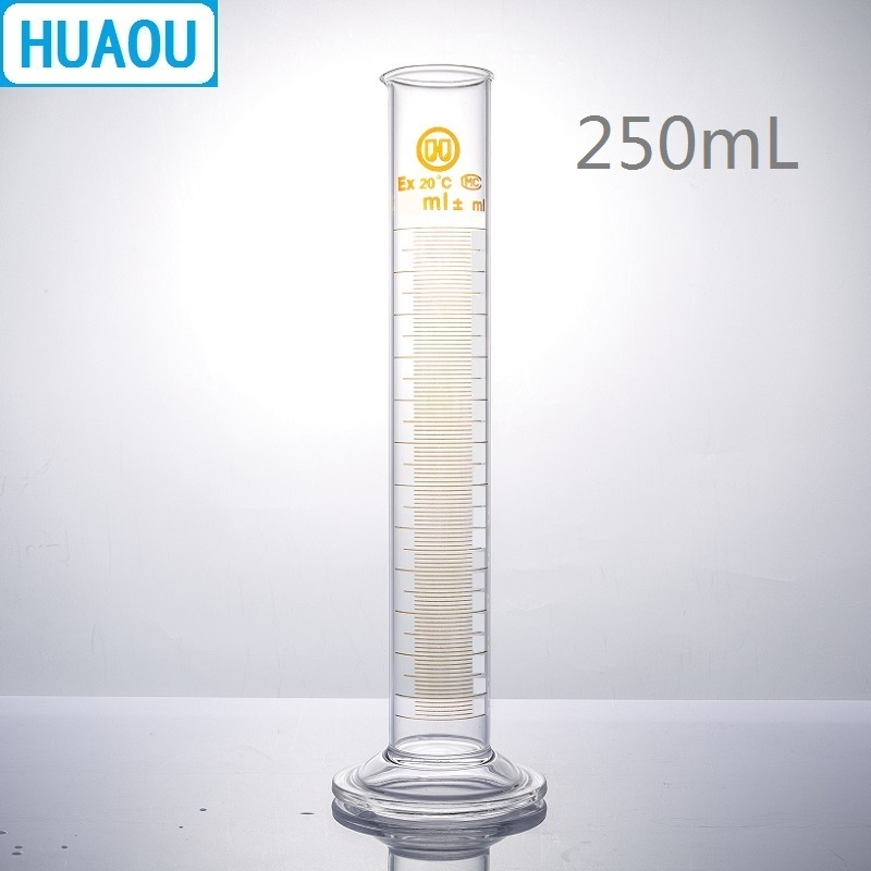 HUAOU 250mL Measuring Cylinder With Spout And Graduation With Glass Round Base Laboratory Chemistry Equipment