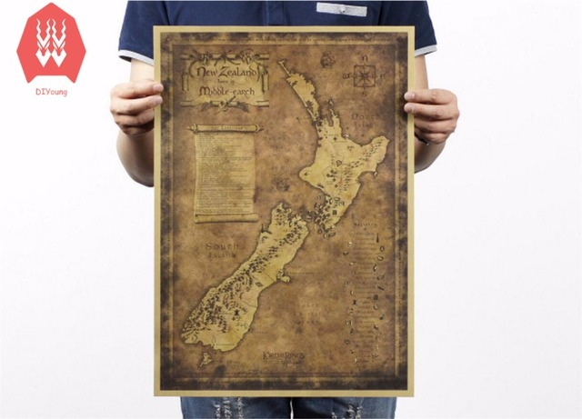 Vintage Kraft Paper Ancient New Zealand Map Poster Wall Stickers