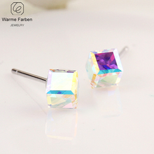 Warme Farben 925 Sterling Silver Women Stud Earrings Crystal from Jewelry Rubik Cube for young Gifts Brincos