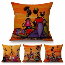 Orange Abstract Painting Africa Life Collection African Woman Home Decor  Pillow Case Gallery Exotic Restaurant Cushion