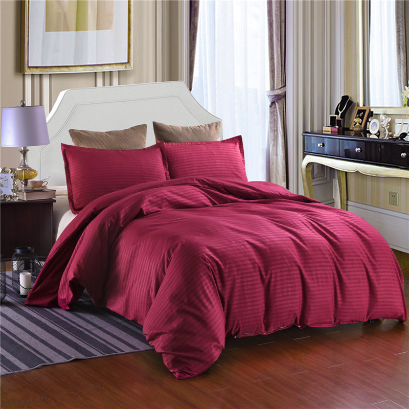 Bedding-Set Quilt-Cover Satin Hotel Striped Pillowcases Queen Solid For Home-Use Polyester-Fabric
