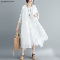 Double Layered Silk Lace Cardigan Summer Seven Sleeve Long Kimono Tops Ladies Sun proof Cover Ups Women Casual White Lace Shirts