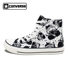 Original Shoes Skull Patterns Shoes for Men Design Black Converse All Star High Canvas Sneakers Womens Chuck Taylors