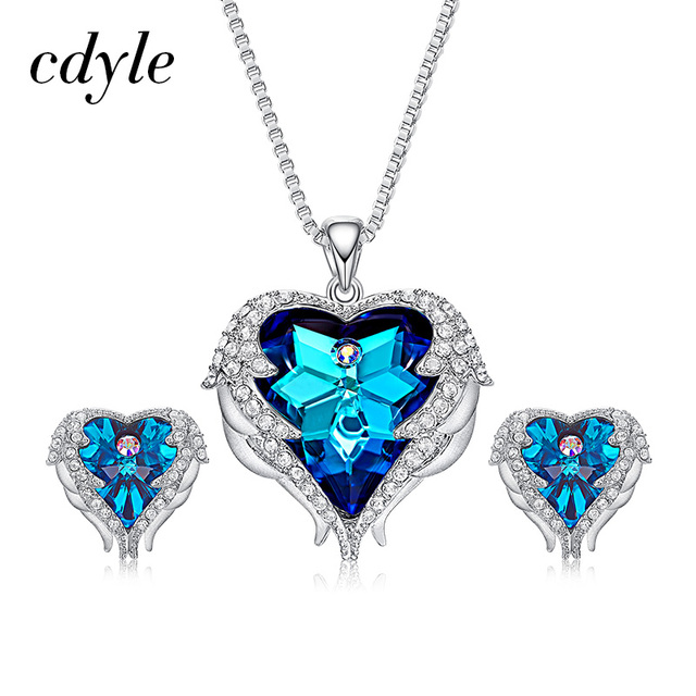 Cdyle Crystals From Swarovski Angel Wings Necklaces Earrings Purple Blue Crystal Heart Pendant Jewelry Set Best