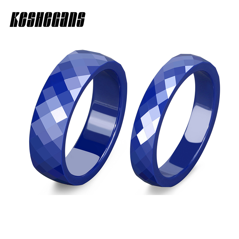 Beautiful Blue Multi-faceted Ceramic Ring 6mm 4mm Wide For Women Lady Exquisite Gift Fashion Jewelry Wedding Engagement Rings