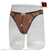 Sexy Latex T String pouch Trims Underwear transparent brown Rubber panty pants briefs shorts thongs underpants bottoms KZ 097