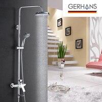 GERHANS Irismart набор для душа с дождевой смеситель Современный Смеситель для ванной комнаты Большая душевая головка элегантный белый трехходово