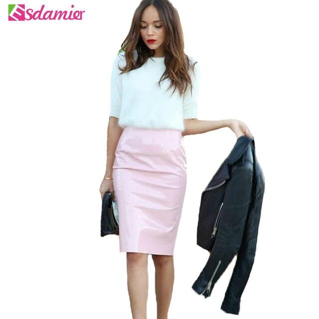 Nuevo Vintage Falda de Talle Alto Imitación de Cuero Colores Del Caramelo  Sexy Falda Lápiz Faldas fca065c71cd4