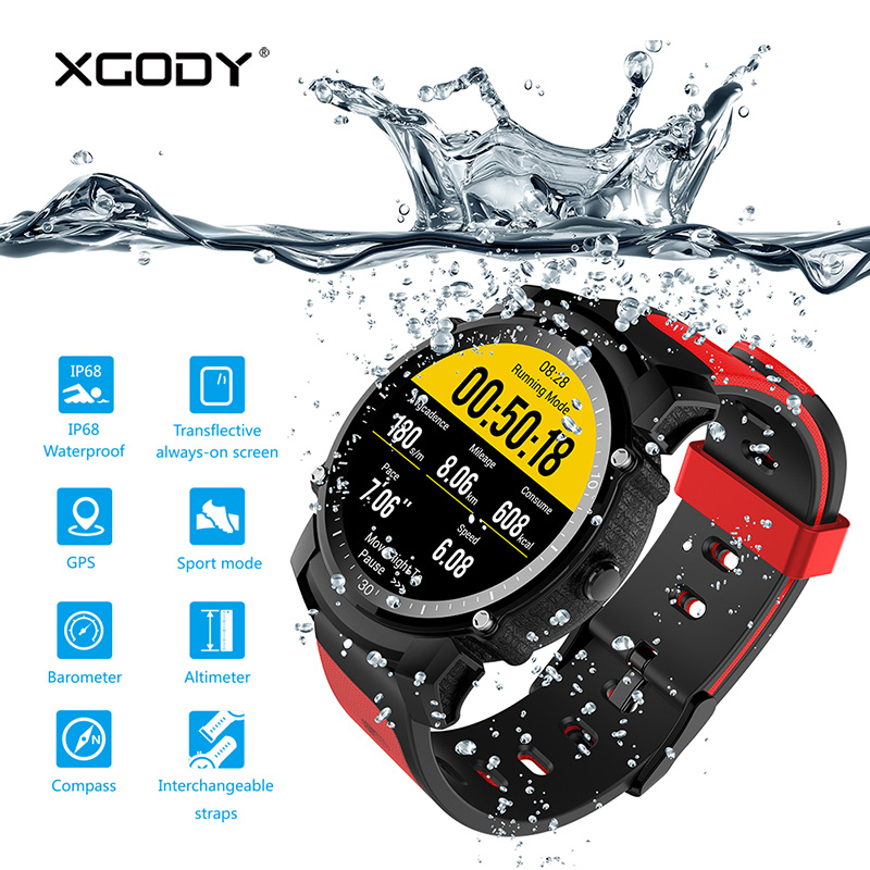 XGODY FS08 Reloj Inteligente Bluetooth Waterproof Smartwatch Pedometer Heart Rate GPS Tracker Smart Watch with Sim Card 2G GSM l 2 smart watch health metal smartwatch inteligente reloj with sleep monitoring bluetooth sedentary remind camera pedometer