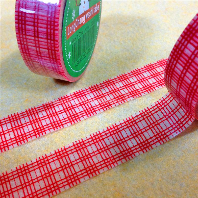 Christmas Theme font b Tartan b font Pattern DIY Scrapbook Decorative Adhesive Tape Red 15mm 10m