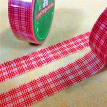 Christmas Theme Tartan Pattern DIY Scrapbook Decorative Adhesive Tape, Red, 15mm, 10m/roll