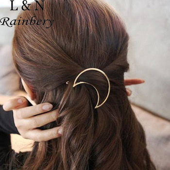 Rainbery Wholesale Simple Geometric Round Circle Hairpins Long Pin Hair Stick for Women Accessories
