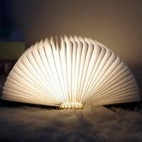 Rechargeable Book Lamp Folding Mini Table Light Warm Night Light LED Wooden USB Desk Night Lamp Bedroom Decor Lighting