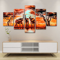 5 Piece Canvas Wall Art African Elephant Animal Posters and Prints Painting Wild Scene Wall Picture for Living Room Home Decor