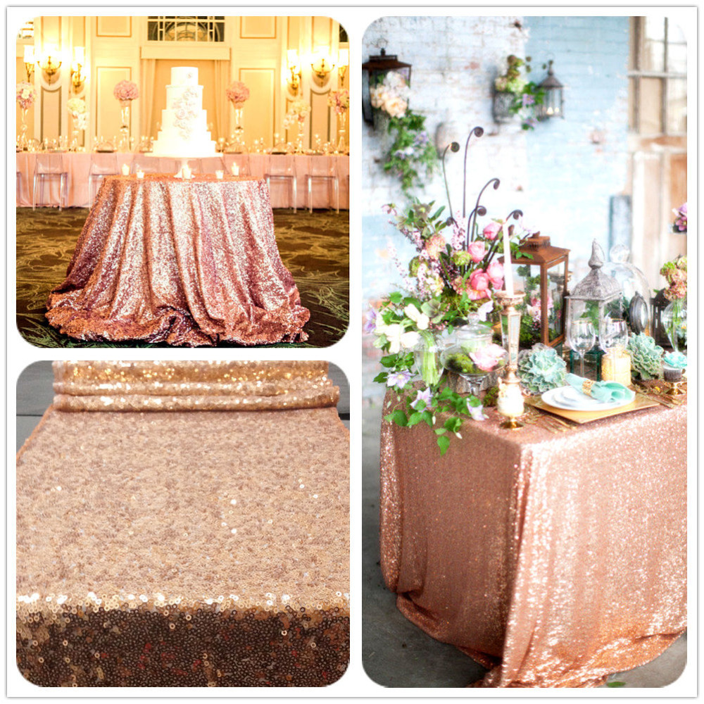 Rose Gold Sequin Table Cloth Shimmer Sparkly Overlays Tablecloths for Wedding 48 x72