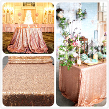 "Rose Gold Sequin Table Cloth, Shimmer Sparkly Overlays Tablecloths for Wedding (48""x72"")"