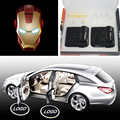 2PCS/Set Wireless Car Door Projector Lights Avengers Iron Man Welcome Logo LEDs Lighting Laser Ghost Shadow Car Styling No Drill