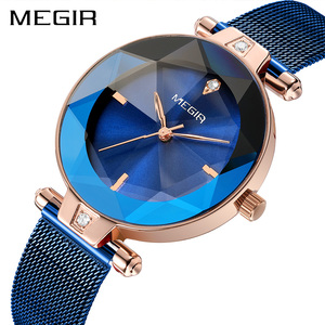Image 2 - MEGIR Luxury Women Watches Reloj Mujer Blue Stainless Steel Mesh Band Elegant Ladies Watch Women Bracelet Clock Zegarek Damski