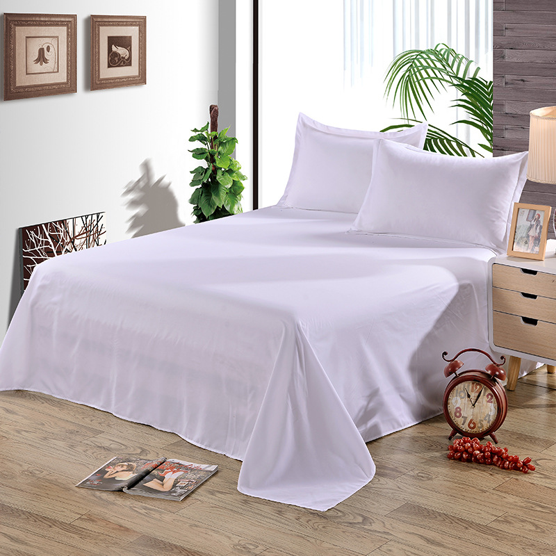 Solid White Flat Sheet Polyester Bedding Sheets Sanding Flat Bed Sheet For Adults Children Students Single Double Size XF338-1