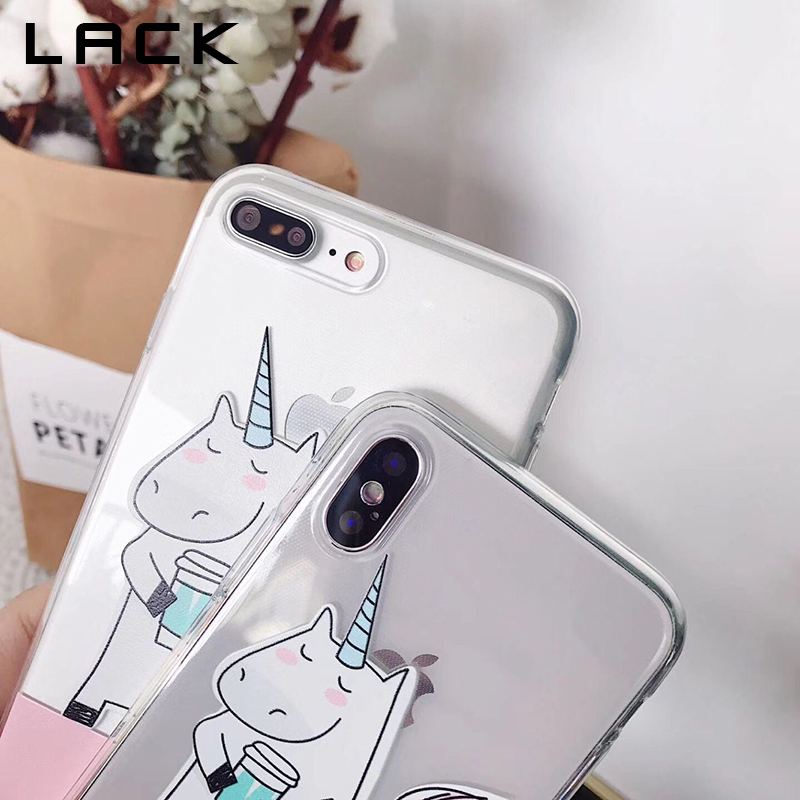 LACK Unicorn Love Coffee Phone Case For iphone X Case For iphone 6S 6 7 8 Plus Fashion Clear Soft TPU Cases Cute Cartoon Cover