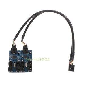 جديد PC حالة الداخلية 9 دبوس USB 2.0 رأس الذكور 1 إلى 4 أنثى الفاصل PCB شرائح موسع تعزيز 30 سنتيمتر C26