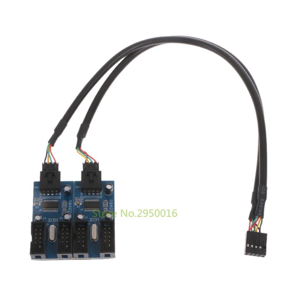 New PC Case Internal 9-Pin USB 2.0 Header Male 1 To 4 Female Splitter PCB Chipset Extender Enhanced 30cm C26