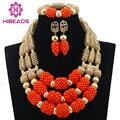 2016 новая Африканская Партия Подарочные Комплекты Ювелирных Изделий Orange 3 строки Коралловые Бусы Ювелирные Наборы Ожерелье Африканский Аксессуары Бесплатная Доставка CJ452