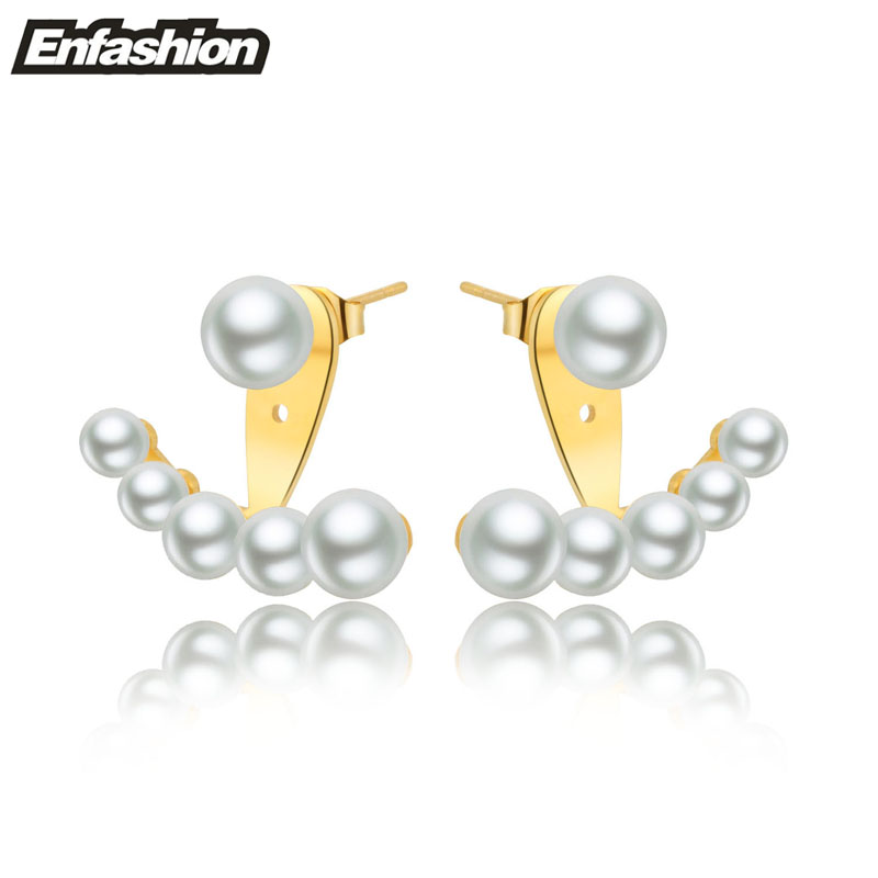 Enfashion Imitation Pearl Stud Earrings Rose Gold Color Ear Jacket Stainless Steel For Women Earing Jewelry Whole In From