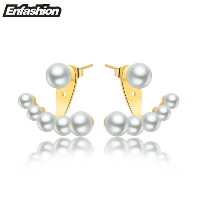 Enfashion Pearl Stud Earrings Rose Gold Plated Ear Jacket Stainless Steel Earrings for Women Earing jewelry Wholesale
