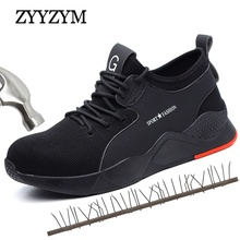 ZYYZYM Steel Toe Men Work Safety Boots Sneakers Outdoor Shoes Puncture Proof Protective Man Indestructible