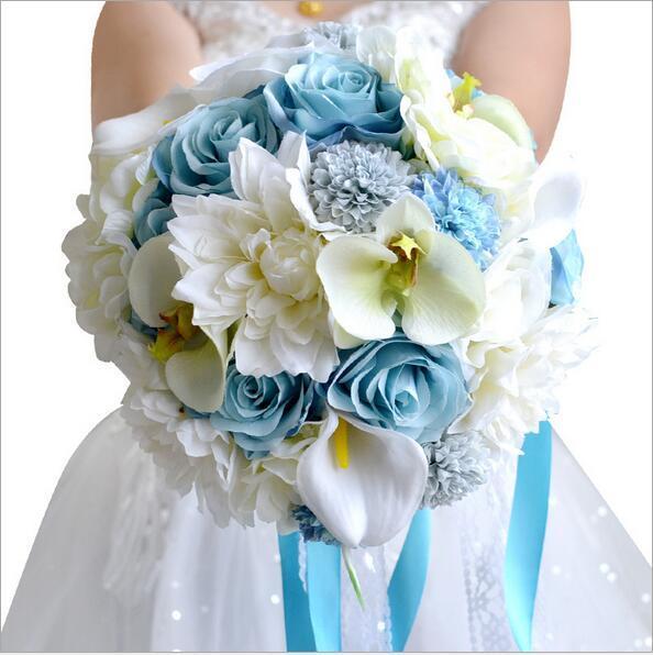Букет Де Mariage Синий Buque Де Noiva Букет Элегантный Искусственный Свадебные Букеты Свадебные Цветы Букет невесты На Складе